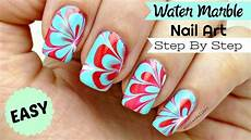 how to do easy water marble nail art step by step tutorial