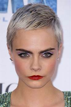 cara delevingne straight silver pixie cut hairstyle steal style