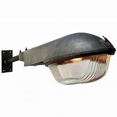 gray vintage industrial holophane glass street wall light for sale at 1stdibs