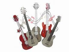 sculpture murale guitares metal gris notes de musiques