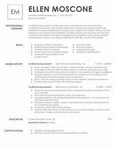 best certified nursing assistant resume exle livecareer