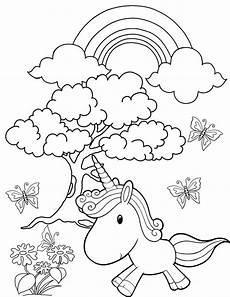 rainbow garden unicorn coloring page