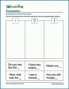 punctuation worksheets preschool 20874 puctuating the end of sentences worksheet k5 learning