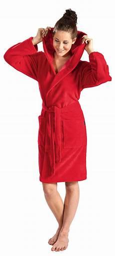 damen bademantel softvelours in kurz mit kapuze in rot