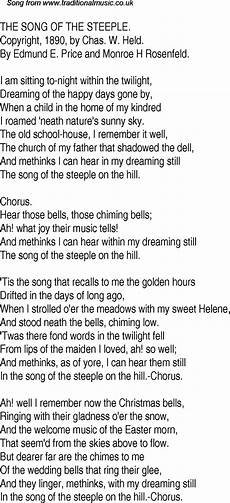 old time song lyrics for 29 the song of the steeple
