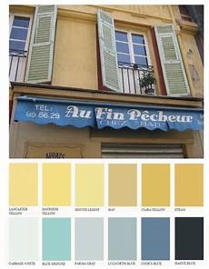 lighter muted yellows with pastel blue shutters and brighter deep blue colors found in the