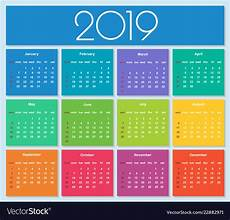 colorful year 2019 calendar royalty free vector image