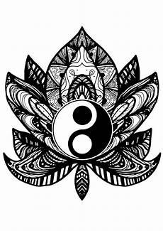 yin yang flower anti stress coloring pages
