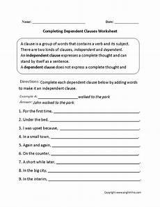 completing dependent clauses worksheet complex sentences