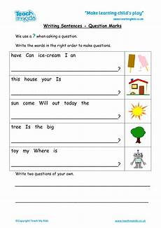 writing question sentences worksheets 22220 writing sentences question marks tmk education