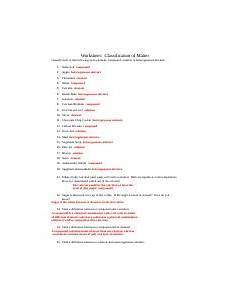 classifying matter worksheet with answers 6 pure air homogenous mixture solution 7 carbon