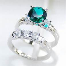 wholesale retail brand new simulated emerald 925 sterling silver engagement wedding ring r293