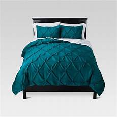 teal pinched pleat comforter full queen 3pc threshold target