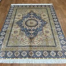silk rugs yilong 5 x7 blue handmade silk rug