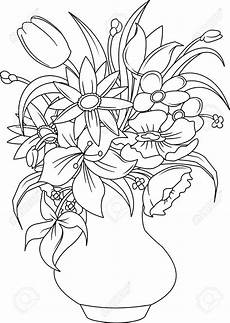 Malvorlage Blumen In Vase Stock Vector Flower Coloring Pages Coloring Pages Drawings