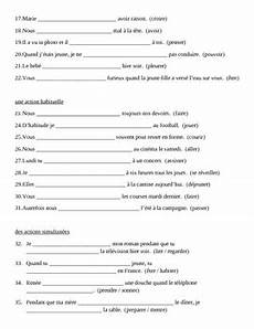 worksheets for passe compose 19196 imparfait imperfect tense in raisons worksheet by jer tpt