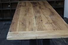 plateau table bois massif 32905 grande table industrielle plateau chene massif pietement fonte