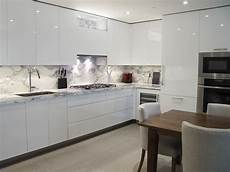 custom kitchen design white high gloss handle less