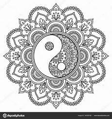 Malvorlagen Yin Yang Romantis Herunterladen Vektor Henna Tatoo Mandala Dekorative Yin