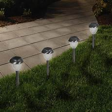 solar powered glass lights set of 6 led outdoor stake