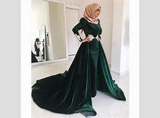Green Muslim Evening Dresses 2019 Mermaid Long Sleeves