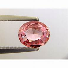 natural unheated padparadscha sapphire orangy pink color oval shape 0 84 carats with grs report