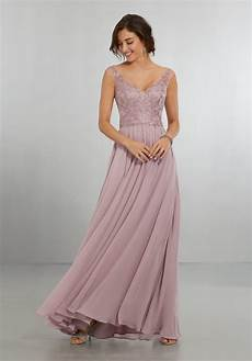 chiffon bridesmaids dress with intricately embroidered and beaded bodice style 21558 morilee