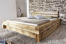 Massivholzbett Mit Bettkasten - balkenbett 200x200 massivholzbett mit bettkasten wildeiche