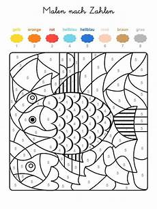 ausmalbild malen nach zahlen fische ausmalen kostenlos