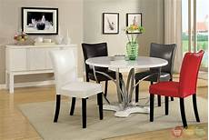 belliz contemporary white lacquer table casual dining with leatherette parson chair cm3177wh