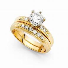 14k yellow or white gold cz engagement ring wedding band