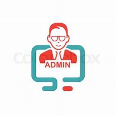 red admin sign on pc laptop vector stock vector