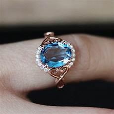 rose gold rings for women wedding engagement gift crystal ring blue stone ring bague femme