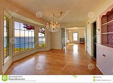 Large Empty Old Living Room Interior With Fireplace. Stock