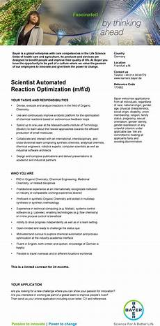 scientist automated reaction optimization m f d bayer