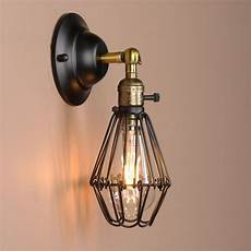 black wall l vintage industrial bird cage wall light