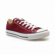 converse all ox maroon canvas womens trainers