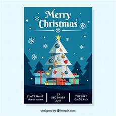 merry christmas poster with a blue sky vector free download