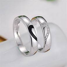 black baking cz diamond couple rings for men two half hearts puzzle wedding bands