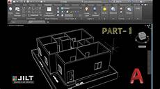 autocad house plan tutorial create 3d house using autocad in easy steps ex 2 part