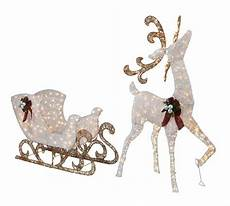 Outdoor Lighted Reindeer Decorations by 5 Lighted White Reindeer With Sleigh Outdoor
