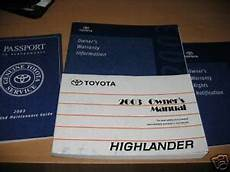 car owners manuals for sale 2003 toyota highlander electronic toll collection 2003 toyota highlander owners manual owner s 4x4 sr5 ebay