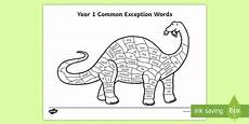 year 1 common exception words colouring dinosaur worksheet
