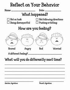 behavior reflection sheet by miss danielle s room tpt