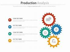 new four gears for production analysis flat powerpoint design powerpoint presentation pictures