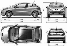 2006 Peugeot 207 Hatchback Blueprints Free Outlines
