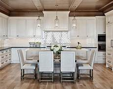 Beadboard Kitchen Banquette by Stained Panel Kitchen Ceiling With White Beadboard Range