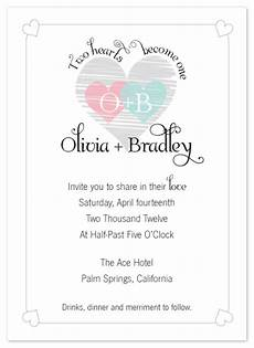 Two Hearts One Wedding Invitations