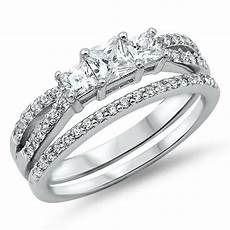 sterling silver 3 stone clear princess cut simulated