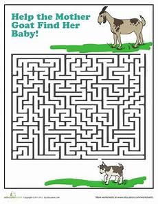 goat maze animal worksheets maze worksheet goats